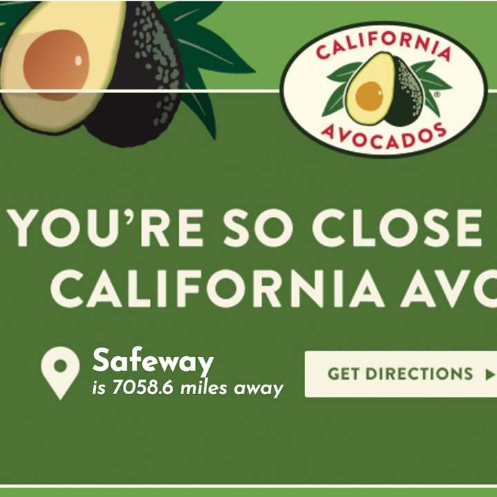 California Avocados (auto detection of nearest store)